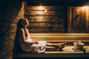 A tourist in sauna